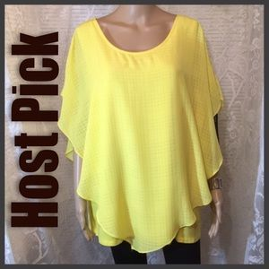AGB Woman Scoop Neck Layered Bright Yellow 2X Top